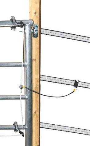 Kovové pastvinové brány délkově stavitelné schéma připojení do ohradníku